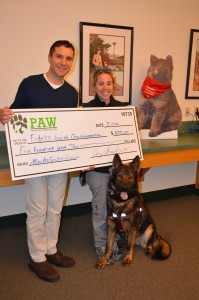 """Fidelco Guide Dog In-Training """"Tonka"""" and trainer Liz DiPace of Avon thank Dr. Corey Shagensky of West Hartford for supporting Fidelco! PAW raised $500 to #Support the vision!"""