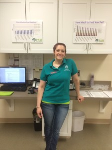 Katie helped education visitors on how to keep their pets a  healthy weight and how to recognize when they aren't.